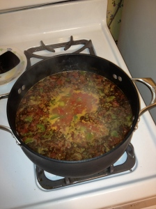"No pictures of the finished product but this was the ""soup"" portion cooking away!"