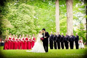 The Bride and Groom with their awesome (if I do say so myself) wedding party. Photo thanks to Jeff Foley Photography.