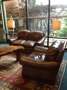 Comfy leather couches!
