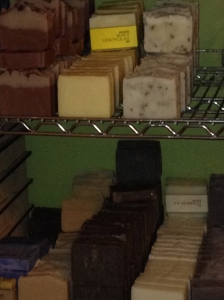 These soaps are currently going through the curing process before they go on the shelf!