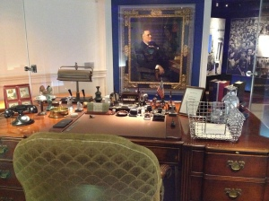 FDR's desk from the White House and his portrait.